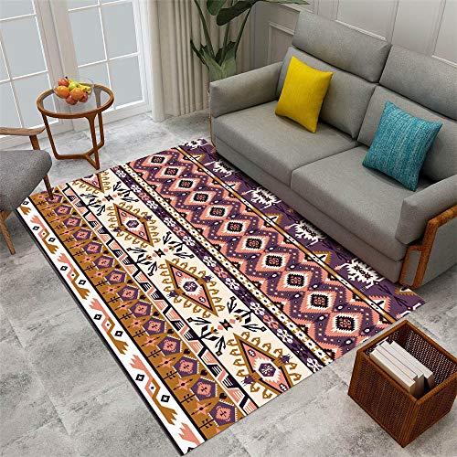 Waterproof Rug For Outdoors brown Salon carpet brown retro geometric pattern durable carpet anti-mite Washable Rug 100X160CM Waterproof Outdoor Rug 3ft 3.4''X5ft 3''