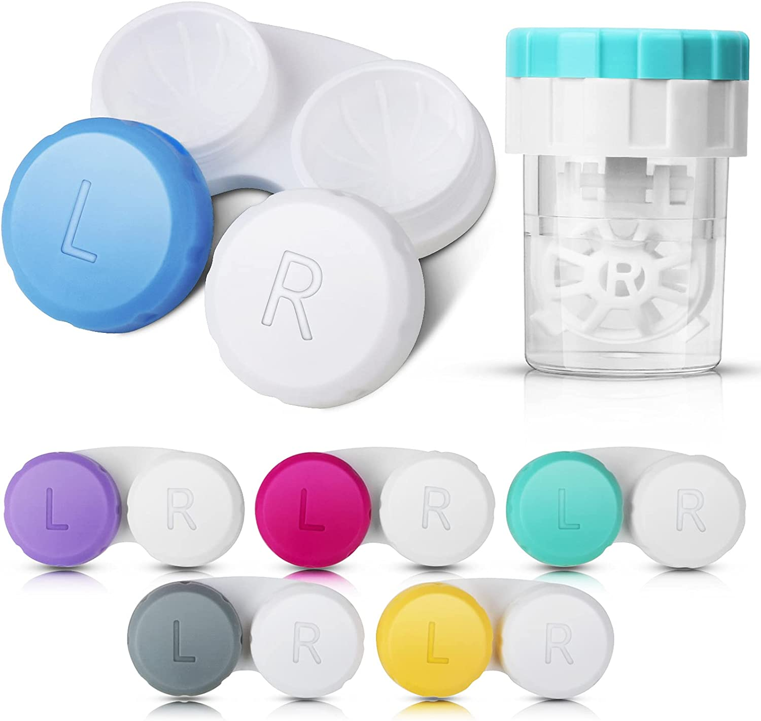 6 Pack Contact Lens Case with Cleaner Washer, Colorful Contact Lenses case, Outdoor Mini Contact Lenses Container for Travel&Home.: Health & Personal Care