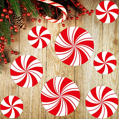 Peppermint Floor Decals Stickers for Christmas Valentine's Day Decoration Candy Party Supply 8 Pcs
