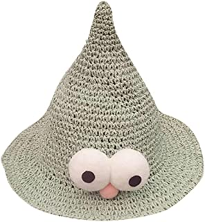 Fashionhe Baby Cartoon Eyes Handcraft Pointed Nipple Shape Straw Hats Summer Beach Sun Caps52CM