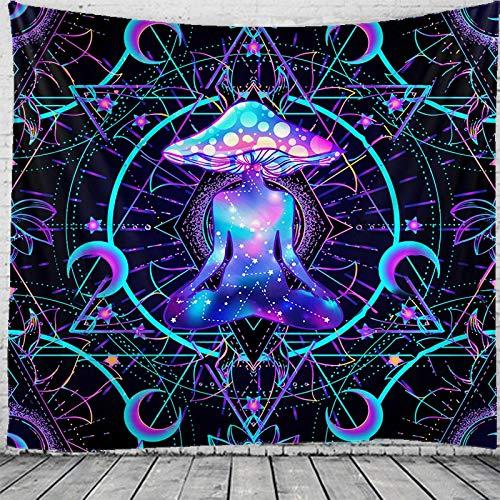 KHKJ Tapiz de Mandala Indio de Hongos para Colgar en la Pared Tapiz de brujería Tapiz psicodélico Gitano Bohemio A2 200x150cm