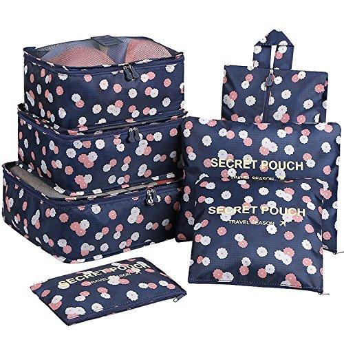 Yiran 7 Set Organizzatori di viaggio imballaggio cubi di lavanderia sacchetto dei bagagli Compressione Sacchetti Bag in sacchetto dell'organizzatore per i vestiti,Cosmetici,scarpe (Fiore Blu Navy)