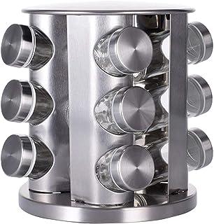 Présentoir à Épices Porte-épices renouvelables debout, 12/16 / 20pcs Assaisonnier rack en acier inoxydable en acier en aci...