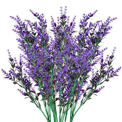 Xiaomoyu 6 Pcs Künstliche Lavendel Blumen Deko, Kunstblumen Pflanze, Gefälschte Lavendel Lila Deko für Garten, Hochzeit DIY, Büro, Wohnkultur
