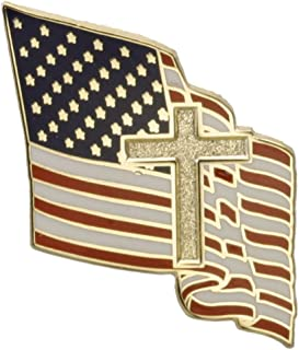Hattricks Goodimpression American Flag with Christian Cross One Inch Lapel Pin