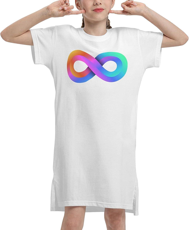 Autism Pro Acceptance Infinity Symbol Girls' Short Sleeve Dress Loose Dress Summer T-Shirt Dress