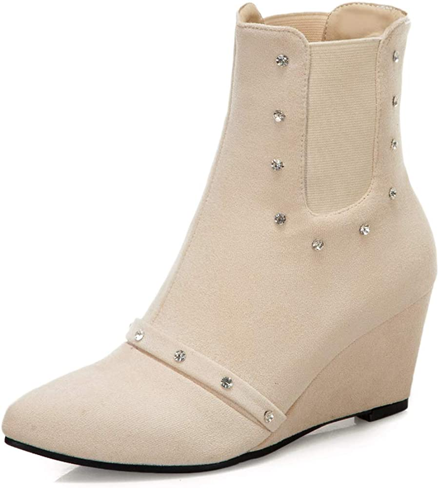 Vimisaoi Women's Fashion Wedge Ankle Slip Mid Courier New popularity shipping free Booties Cutout On