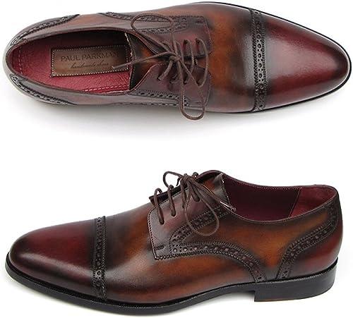 Paul Parkman Herren Bordeaux Tobacco Derby Schuhe Obermaterial Leder und Sohle (ID   046)