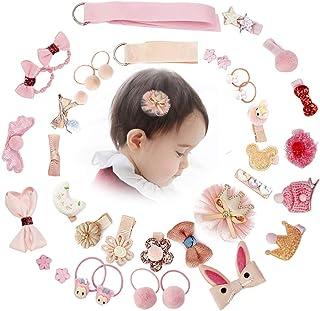 LSQ Manual Hair Clips Cute Hair Bows Baby Elastic Hair Ties Hair Bow Accessories Ponytail Holder Hairpins Set Baby Girl He...
