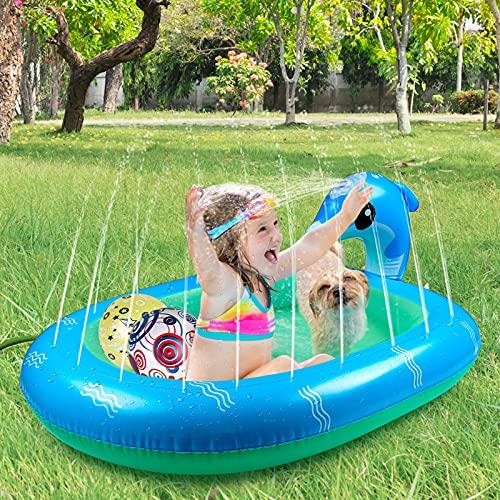 Gemeer Juego de Piscina con Delfines para niños, Alfombra de riego para niños