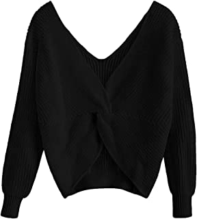 Women's V Neck Twist Back Pullover Sweater Long Sleeve Knitted Jumpers