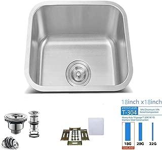 Oakland 18 x 18 inch Bar Prep/Kitchen Single Bowl Sink Undermount 18 Gauge 304 Stainless Steel - KSU1818