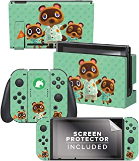 """Controller Gear Aunthentic & Officially Licensed Animal Crossing: New Horizon - """"Tom Nook & Team"""" Nintendo Switch Skin Bundle"""