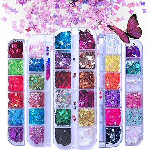 EBANKU 5 Boxen 3D Schmetterling Nagel Glitter Pailletten, Splarkly Laser Nagel Pailletten Acryl Pailletten Holographische Nagel Art Aufkleber Maniküre Bilden