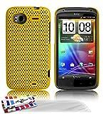 Muzzano F4A11-475N6735 - Funda para HTC Sensation, con 3 protectores de pantalla, color amarillo