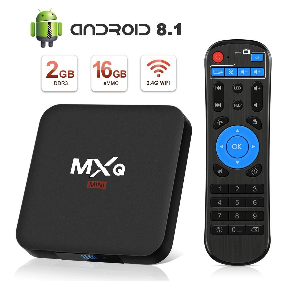 Android 8.1 TV Box, Superpow Smart TV Box Quad Core 2GB RAM+16GB ROM, 4K*2K UHD H.265, HDMI, USB*2, WiFi Media Player, Android Set-Top Box con Voice Remote Control: Amazon.es: Electrónica