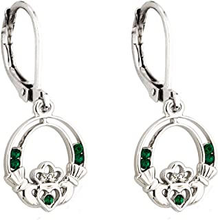 Claddagh Earrings Irish Celtic Green Crystal Rhodium Plated Drops Made in Ireland