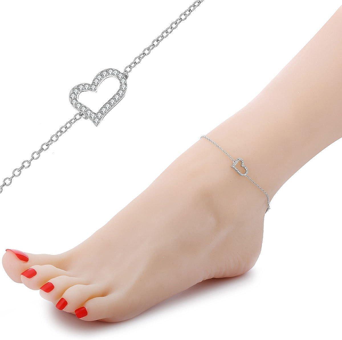 Fu/ßkettchen aus Gold und Silber mit Kristall verstellbar Kn/öchel-Armband f/ür Damen Fu/ßkettchen mit Anh/änger f/ür M/ädchen