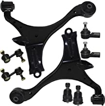 Detroit Axle - Front Lower Control Arm Assembly w/Ball Joints, (2) Sway Bar Links and All (2) Outer Tie Rod Ends for 2001 2002 2003 2004 2005 Honda Civic - Not for SI - [2001-2005 Acura EL]