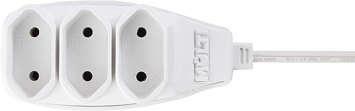 Extensão elétrica 10A Branca de 3 Tomadas Bipolar com cabo de 3m Multicraft, EXT3TBI3M