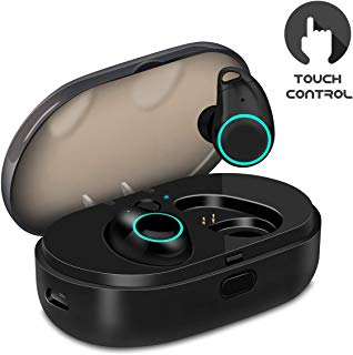 U-ROK Bluetooth Wireless Earbuds with 800mAh Charging Box, Touch Control Sports Earphones in-Ear IPX5 Waterproof HD Stereo Sweatproof Headphones with Built-in Mic (Black + Wall Charger)