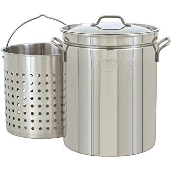 Bayou Classic 1144 1144-44-qt Stainless Stockpot with Basket, 44 quarts, Silver