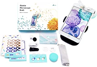 uHandy Mobile Microscope Duet: STEM Kits for Professionals & Kids | Portable High-Mag Lens up to 400x | Auto-Focusing on Sample | Reusable Sample Cap & Sampling Stickers | for Mobile & Tablet