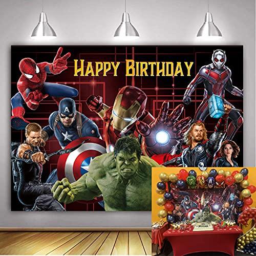 Betta The Avengers Backdrop Marvel Superhero Backdrop for Boys Superhero Theme Birthday Party Decoration Supplies Photo Booth Studio Props 7x5ft