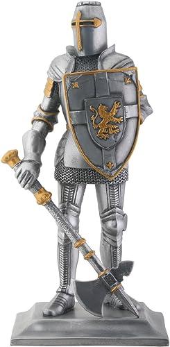 Crusader Knight Finition argent Statue en résine statue figurine coulé à froid