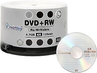 50 Pack Smartbuy Blank DVD+RW 4X 4.7GB 120Min Logo Rewritable DVD Media Disc