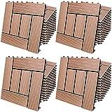 Deuba Piastrelle da Giardino in WPC 4m² Mattonelle 30x30cm Sauna Patio terrazza Esterno Terracotta