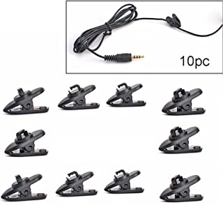 Cable fix Black Single Mount Tie-Clips Lapel Microphone Lavalier Microphone Headworn Microphone Clips Plastic Version for Shure WL93 and SM93 microphones - Set of 10