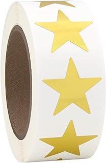 "1"" Gold Metallic Star Shape Foil Sticker Labels, 500 Labels per Roll, 1 Roll, 1 Inch Diameter"