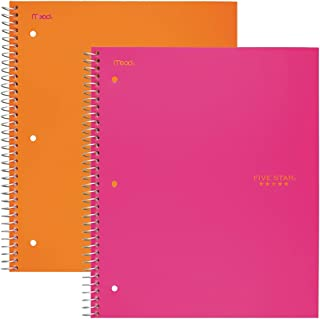 """Five Star Spiral Notebooks, 1 Subject, Wide Ruled Paper, 100 Sheets, 10-1/2"""" x 8"""", Orange, Pink, 2 Pack (38425)"""