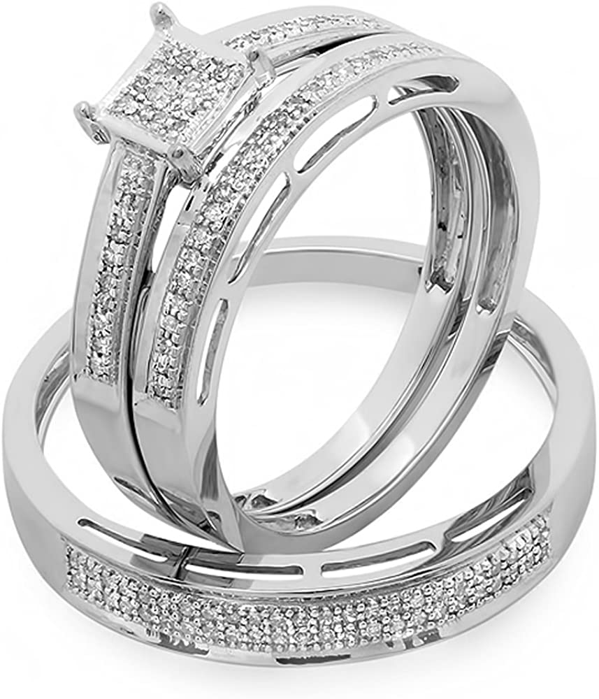 0.18 Carat (ctw) 18K Gold Round Diamond Ladies & Mens His Hers Bridal Engagement Ring Trio Set Band