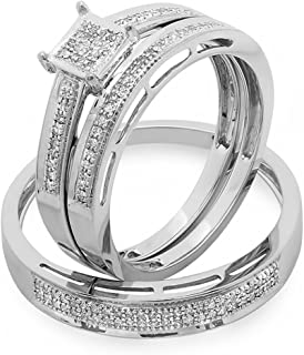 Dazzlingrock Collection 0.18 Carat (ctw) 10K Gold Round Diamond Ladies & Mens Engagement Ring Trio Set Band