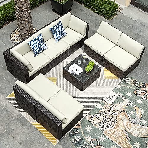 YITAHOME 8 Pieces Patio Furniture Set, Outdoor Sectional Sofa PE Rattan Wicker Conversation Set...