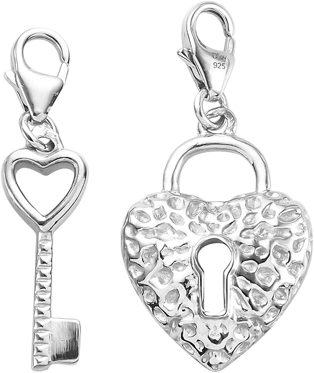 Shop LC High quality 925 Sterling Silver Platinum Charm Key Plated [Alternative dealer] Jewel Lock