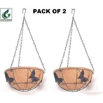 Coir Hanging Round Basket 10 INCH 2 Pieces - Coco Gardening POTS with Stand - Butterfly Design Flower POTS Hanger Garden Decoration Indoor Outdoor Water Hanging Baskets