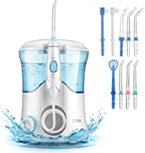 Cozzine Water Dental Flosser 600ml, Water Pick Large Capacity Leak-Proof Electric Quiet Design with 9 Multifunctional Tips Countertop Dental Oral Irrigator for Home & Travel