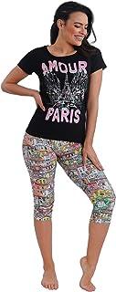 Habiba Cotton Round-Neck T-Shirt with Printed Cropped Leggings Pajama Set for Women