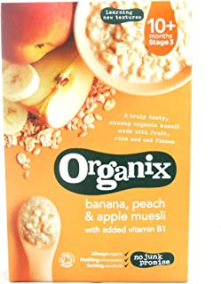 Organix - Stage 3 From 10 Months - Organic Infant Cereals - Banana, Peach & Apple Muesli - 200g (Case of 4)