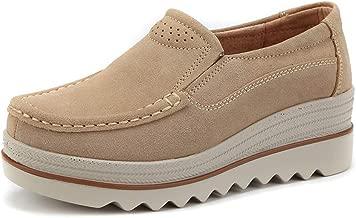 JOYBI Women Casual Flat Loafers Shoes Faux Suede Slip On Round Toe Comfortable Fashion Platform Moccasins