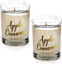 LUNA CANDLE CO. Strong Scented Apple Cinnamon Jar Candle, Soy Wax, Luxurious 11oz. Glass, up to 110 Hours of Burn Time, Nutmeg and Vanilla, Fall Gift Idea, Aromatherapy (2 Pack)