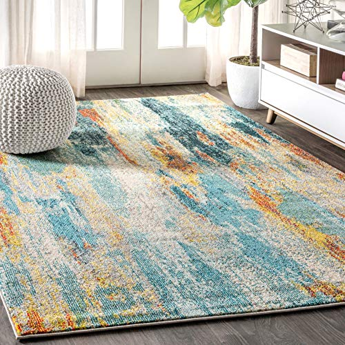 JONATHAN Y Contemporary POP Modern Abstract Vintage Waterfall Blue/Cream/Yellow 5 ft. x 8 ft. Area Rug, Bohemian,EasyCleaning,ForBedroom,Kitchen,LivingRoom, Non Shedding