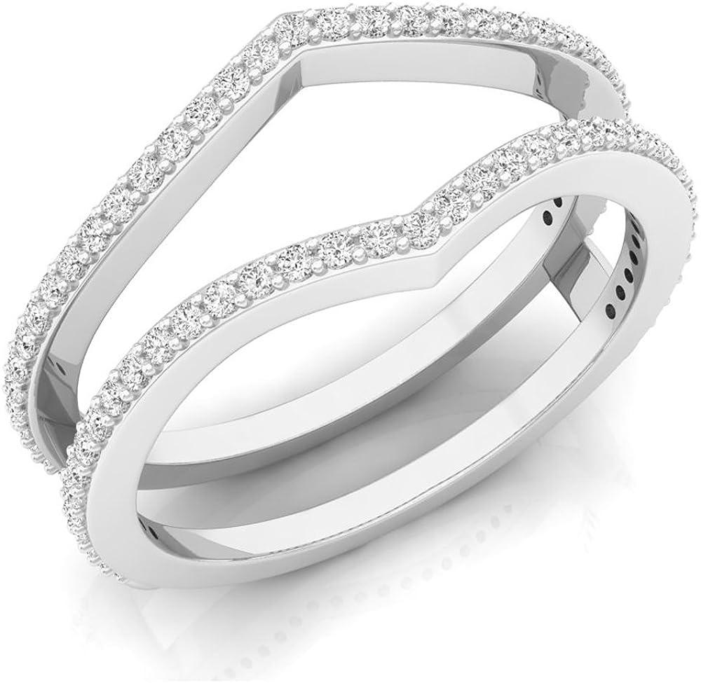 Dazzlingrock Collection 0.40 Carat (ctw) 18K Gold Round Diamond Ladies Anniversary Wedding Band Enhancer Guard Double Ring