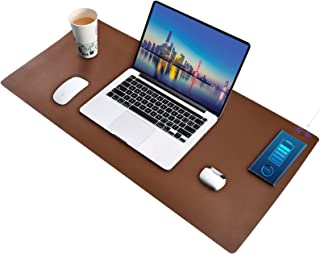 Furison Multifunctional Desk Blotter Pad with 15W Wireless Charging, 36'' x 17'', Left/Right Charging Optional, Compatible...
