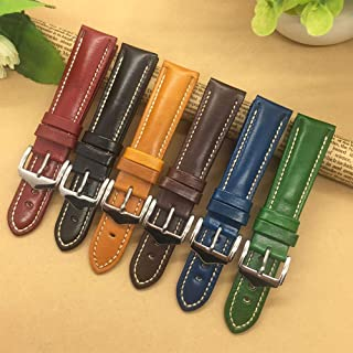 for Genuine Leather Watchband 18mm 20mm 21mm 22mm Mens Women Black/Blue/Red/Brown/Watch Strap,Brown,18mm