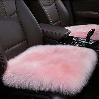 U&M Authentic Sheepskin 19.3 inch Car Interior Seat Cover, Soft Fluffy Long Wool Seat Cushion Pad Winter Mat Universal Fit for Comfort in Auto, Plane, Office, or Home