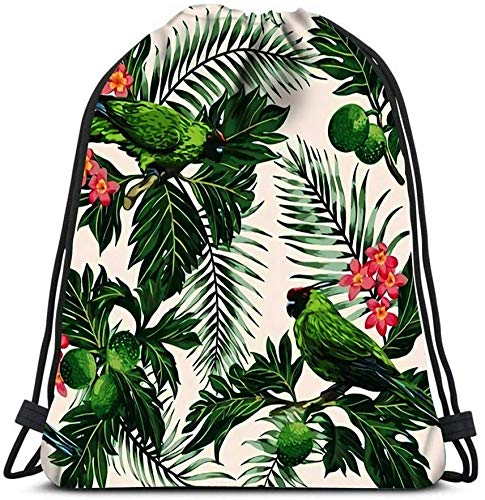 Drawstring Backpack Bags, Exotic Tropical With Leaves Fruits Flowers And Birds Breadfruit Palm Plumeria Parro Unisex Sport Bag Portable Storage Bag